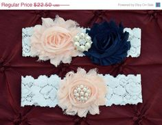 ON SALE Blush/Navy Wedding Garter Set
