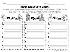 Printable sheets on nouns