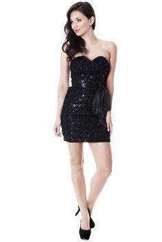 Black Dresses - Sequin Sweetheart Cocktail Black Dress - http://www.blackdresses.co.uk