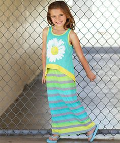 Look what I found on #zulily! Turquoise & Yellow Daisy Overlay Maxi Dress - Girls #zulilyfinds
