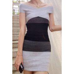 Trendy Style Off-The-Shoulder Color Block Bodycon Women's Bandage Dress, BLACK, ONE SIZE in Bandage Dresses | DressLily.com