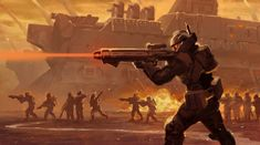 Civilizations: Beyond Earth - Soldier Firing a Rifle - Lev Destroyer in the Background Armor Concept, Weapon Concept Art, Space Empires, Science Fiction Kunst, Civilization Beyond Earth, Future Weapons, Sci Fi Armor, Fantasy Art Landscapes, Future Soldier