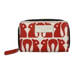 Squirrel Red Leather Coin Purse