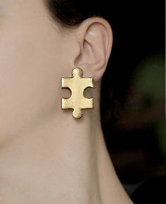 Cute puzzle Clip on earrings Gold stud earrings Statement jewelry design Handmade gift for women Gifts for her Puzzle jewelry Teen earrings - New Ideas Puzzle Jewelry, Cute Jewelry, Etsy Jewelry, Jewelry Logo, Jewelry Stand, Simple Jewelry, Jewelry Branding, Boho Jewelry, Jewelry Accessories