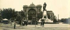 Egy gyönyörű felvétel az egykori Baross térről. Budapest Keleti pályaudvar a Baross szoborral.1904.