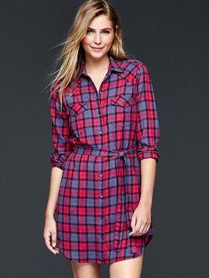 Flannel western shirtdress   Gap