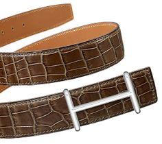 "Beltkit_32_women | Belt Kits Hermès 32 Mm Women | Hermès, Official Website Hermes 32 mm leather strap in elephant gray matte Porosus crocodile leather (strap width: 1.25"") & Buckle, silver and palladium plated"
