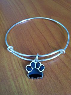 Expandable Bangle Bracelet, Paw Print, Dog, Cat, Charm, Silver, Wire, Alex and Ani inspired Bangle Bracelet on Etsy, $14.00