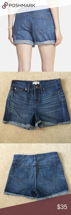 """Madewell Denim Boy Shorts in Frances Wash Beautiful preloved condition, no stains or marks, from Spring 2015, these are made to fit just right—not too baggy, not too tight. Plus, they hit at the perfect place on the thigh to ensure maximum cool-girl legginess. We love the way the artfully hand-distressed details give these cutoffs that perfectly worn-in look.    True to size, fixed waistband, measures appx 15.75"""" 5"""" inseam (unrolled) Cotton. Machine wash. Import. Item C1737. Madewell Shorts…"""