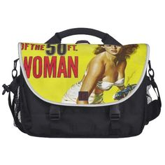 Attack of the 50 Ft. Alien Women Laptop Computer Bag - Vintage Science Fiction Art and Comics on bags, shirts, hats, fridge magnets, cards, ties, and to many more neato items to list.  Check it out now!