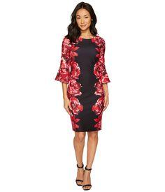 54c9a097dc9e19 CALVIN KLEIN Print Scuba Crepe Sleeve Dress.  calvinklein  cloth