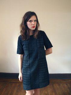 Black and White Grid Shift Dress Handmade by kertis on Etsy