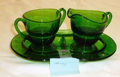 Gorgeous Dark Green New Martinsville Glass Co. Cream & Sugar Set