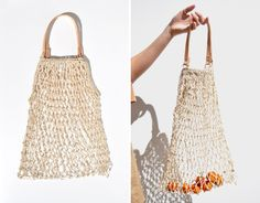 Woven string grocery bag with leather handle via Gardenista