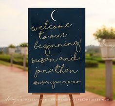 Wedding Welcome Sign, Moon and Star Wedding Reception Sign, Navy and Gold Wedding Sign, Constellation Night Wedding, PRINTABLE Wedding Sign