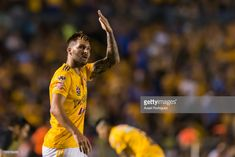 Andre-Pierre Gignac of Tigres celebrates after scoring his team´s second goal during the 1st round match between Tigres UANL and Leon as part of the Torneo Apertura 2018 Liga MX at Universitario Stadium on July 21, 2018 in Monterrey, Mexico.