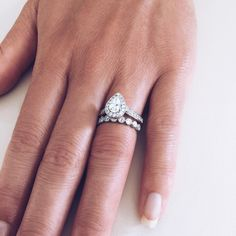 """One of our gorgeous customers in the showroom looking for the perfect wedding band to match her diamond engagement ring ... we love this combination with…"""