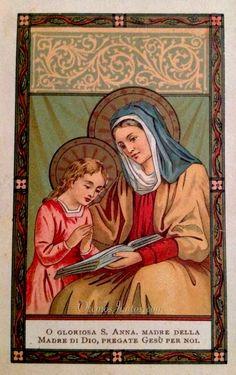 Santa Ana, madre de la Santísima Virgen María, (estampa antigua)
