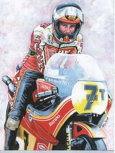 Barry Sheene waits patiently on his Suzuki for the start of another race in the 1978 season. Suzuki Motorcycle, Motorcycle Art, Bike Art, Bike Poster, Automotive Art, Classic Bikes, Sports Art, Super Bikes, Road Racing