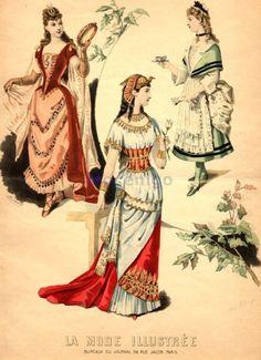 Fancy dress, 1890 France, La Mode Illustree  Music, Egyptian queen, 18th century maid (?)