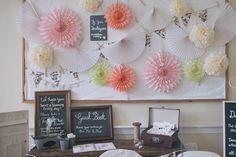 Paper fans, bunting and pompom decorations | http://www.sallytphotography.com/