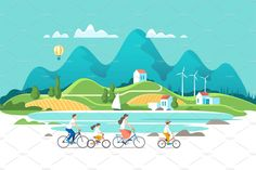 Find Summer Vacation Family Riding On Bicycles stock images in HD and millions of other royalty-free stock photos, illustrations and vectors in the Shutterstock collection. Flat Design Illustration, Family Illustration, City Illustration, Illustration Vector, Nature Landscape, City Landscape, Design Ios, Game Design, Graphic Design