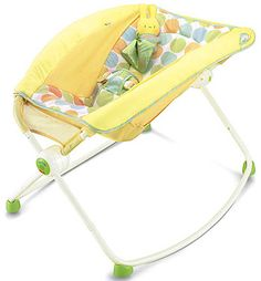 Fisher-Price Newborn Rock and Play Sleeper. This was a lifesaver for us with a newborn and we used it frequently until just recently. Our lil guy has totally outgrown it. I was sad to retire it! Wish I could find something to replace it.