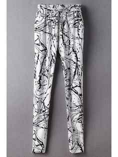 Ink Print Belted Mid-Waist Harem Pant - WHITE S