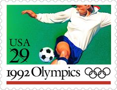 This Soccer stamp is one of five Olympic Games stamps issued in 1992.