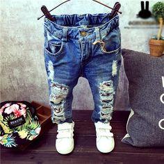 Anak Celana Lubang Rusak Celana 2016 Bayi Laki-laki Perempuan Jeans Merek Fashion Musim Gugur 2-7Yrs Anak Celana Anak-anak Pakaian ZJ04