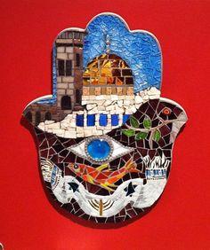 One of a kindJudaica art judaica mosaic Hamsa by BellasArtMosaics