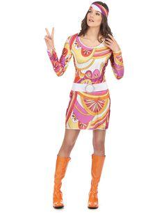Déguisement hippie rose et orange femme   Deguise-toi, achat de Déguisements  adultes 76679ff98792