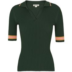 Whistles Tipped Stripe Polo Shirt, Dark Green (1.535.855 VND) ❤ liked on Polyvore featuring tops, collar top, stripe polo shirt, polo shirts, whistles tops and elbow length sleeve tops