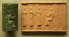 Greenstone cylinder seal, Neo-Sumerian, about 2100 BC. The cuneform insription can be translated 'Ur-Nammu, strong man, king of Ur: ash-hamer, of the city of Ishkun-Sin, is your servant.' Ur-Nammu, 2112-2095 BC, was the first king of the Third Dynasty of Ur. Mesopotamia, Iraq