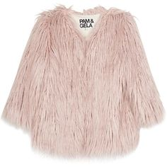 Pam & Gela Light Pink Cropped Faux Fur Coat ($515) ❤ liked on Polyvore featuring outerwear, coats, jackets, tops, faux fur coat, leather-sleeve coats, pink fake fur coat, fake fur coats and imitation fur coats