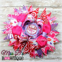 .25 Kisses by Miss B's Bowtique Valentines Day Hair Bow www.facebook.com/missbsbowtique05