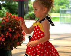 Minnie Mouse Dress Minnie Dress Baby Girls Dress Little Pink Minnie Mouse Dress, Minnie Mouse Costume, Mermaid Dresses, Little Girl Dresses, Girls Dresses, Red Polka Dot Dress, Pink Dress, Cream Party Dresses, School Dresses
