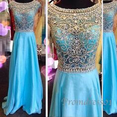 2015 elegant light blue A-line v-back chiffon long prom dress for teens, ball gown,grad dress,evening dress, wedding dress #promdress