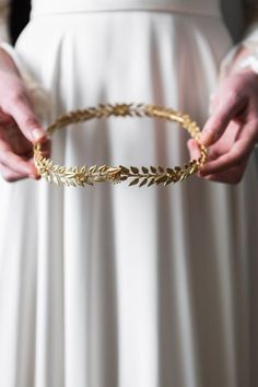 Edwardian mini gold leaf circlet Bridal by AnnaMarguerite on Etsy