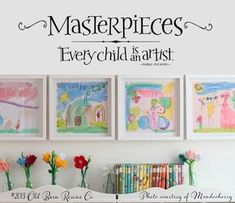 art displays - Masterpieces Wall Decal Every Child is an Artist Picasso Wall Quote Kids Art Display Decal Playroom Wall Decor