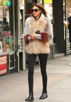 alexa chung in a fur coat & boots #style #fashion #celebrity