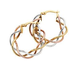 10ct Yellow, White & Rose Gold Woven 25mm Hoop Earrings