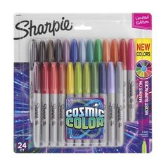 Galactically bright and permanent to the core, Sharpie Cosmic Color Permanent Markers inspire you to transform ordinary surfaces into out-of-this-world creative statements. Launch your imagination into the stratosphere, with Sharpie! Sharpies, Sharpie Markers, Marker Pen, Permanent Marker, Art Journal Pages, Sharpie Colors, Art Simple, Pen Sets, Ink Color