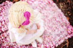 Cabbage Patch Wig hat by AdairToCrochet. Photography by Missie Jurick of Sunflower Studio.