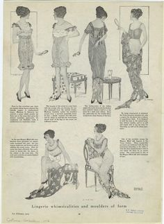"""Feb. 1914, Harper's Bazaar.  """"Lingerie whimsicalities and moulders of form.""""  
