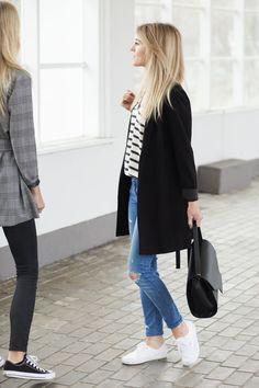 Kasia: shoes / buty - VANS leather bag / skórzana torebka - MUMU striped top / bluzka w paski - MLE Collection short coat / krótki płaszcz - Tallinder (podobny tutaj) jeans / dżinsy - Zara (podobne tutaj) Asia: trousers / spodnie - TOPSHOP (model Jamie) grey coat & top / szary płaszcz i koszulka - MLE Collection shoes / buty - Converse