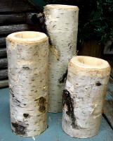 3 Lodge Decor Birch Bark Log Candle Holders