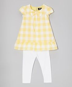 This Yellow & White Gingham Tunic & Leggings - Infant, Toddler & Girls by A.B.S. by Allen Schwartz is perfect! #zulilyfinds