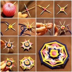 Weave A Mandala Brooch With Toothpicks! What a creative and easy way to make a beautiful Mandala brooch! You can make pendants, earrings and other accessories. Kids Crafts, Craft Stick Crafts, Yarn Crafts, Diy And Crafts, Arts And Crafts, Craft Sticks, Popsicle Sticks, Recycled Crafts, Weaving Projects
