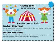 Differentiation Station: Search results for clown town Teaching Phonics, Teaching Language Arts, Teaching Reading, Teaching Ideas, First Grade Phonics, First Grade Classroom, School Classroom, Classroom Pictures, Classroom Ideas